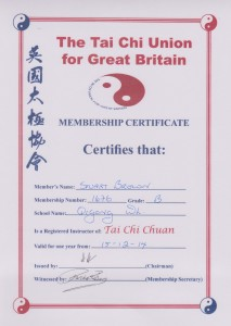 Tai Chi Instructor Cert 2014